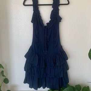 Betsey Johnson ruffle sleeveless blue dress